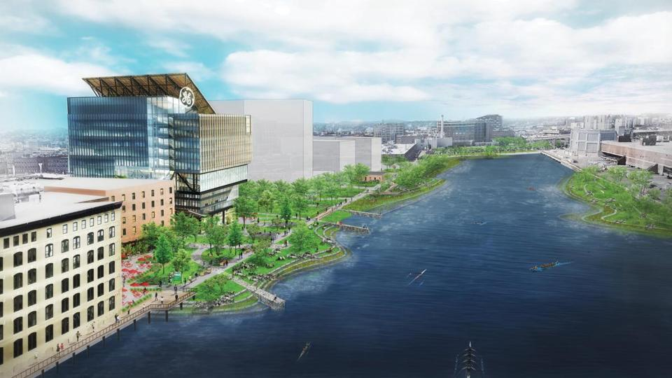 "18climate -- A rendering from page 13 of the ""Executive Summary of Coastal Resilience Solutions of South Boston"" of long-term flood protection such as what is shown here for Fort Point Channel can also improve quality of life (Boston Planning & Development Agency)"